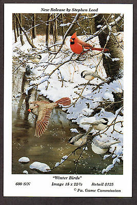 Pa Pennsylvania Game Commission WTFW 1994 Winter Birds Lithograph Print Card