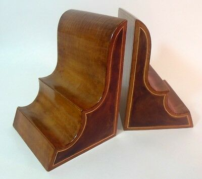Stunning Vtg Italian LEATHER Book Ends Library Study Chic
