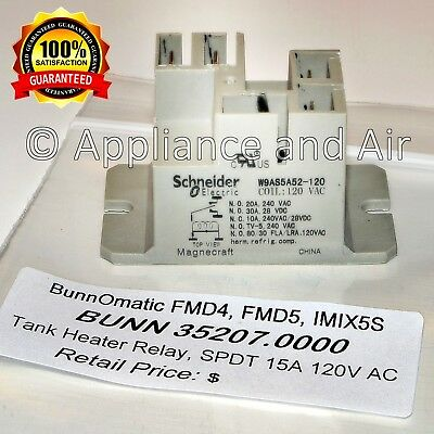 BUNN Relay 35207.0000 SPDT 15A 120V for FMD4, FMD5, IMIX5S - FAST Shipping!