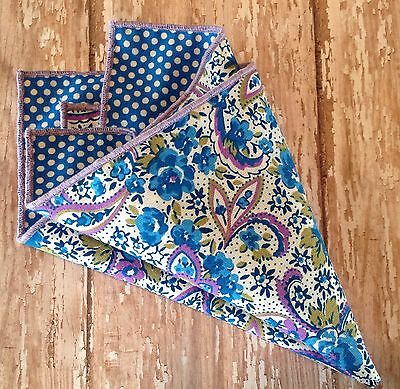 NEW Pocket Square Purple White Blue Paisley Floral Polka Dots Reversible Gift