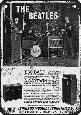 """7"""" x 10"""" Metal Sign - 1962 Beatles for VOX - Vintage Look Reproduction"""