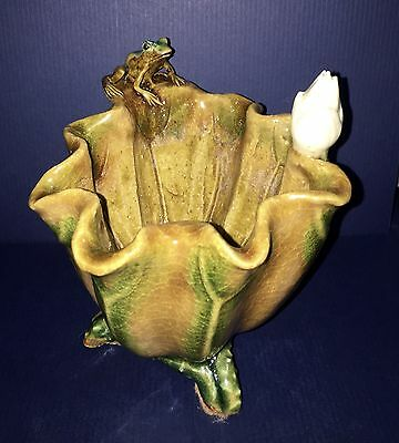 Vintage Majolica Glazed FROG & LILY Footed Small Planter - Artist Signed 4 3/4""