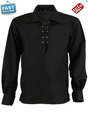 Black Ghillie Jacobite Scottish Kilt Shirt with Leather Cord Sizes S,M,L,XL,XXL