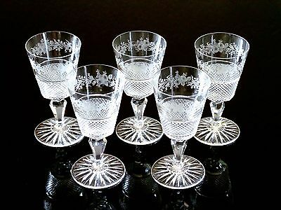 Lot of 5 Early American Cut Glass (or Anglo Irish?) Intricate Cordial Goblets