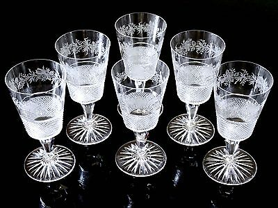 Lot of 6 Early American Cut Glass (or Anglo Irish?) Port/Sherry Wine Goblets