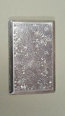 Antique 950 Sterling Silver Cigarette Case Chased Vintage Holder Compact Retro
