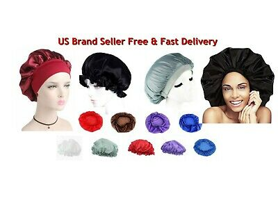 Silk Night Sleep Cap Hair Bonnet Hat Head Cover Satin Wide Band Adjust Elastic