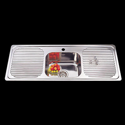 Drop In 304 Stainless Steel Kitchen Single Bowl Double Drainer Sink 1180x480