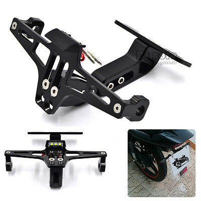 Motorcycle Adjustable License Number Plate Holder Bracket LED Light Univeral BLA