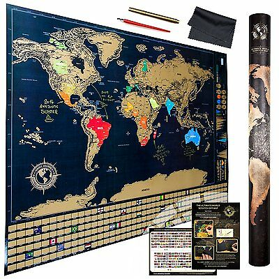 The Ultimate Scratch Off World Map With Flags And Glossy Finish + Premium Tools