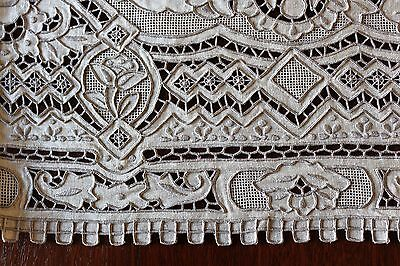 SET 13pcs VINTAGE HEAVILY EMBROIDERED Cutwork Linen Placemats Runner GREAT WALL
