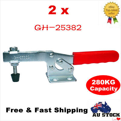 2pcs 280KG Holding Capacity Toggle Clamps Horizontal Bar Flanged Base GH-25382