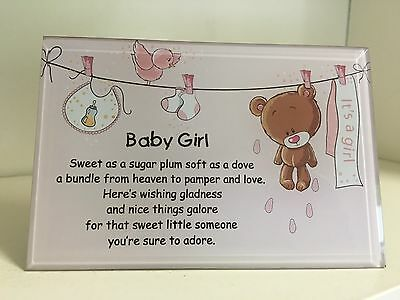 Brand New Its a Girl Baby Girl Plaque Frame New Born Gift