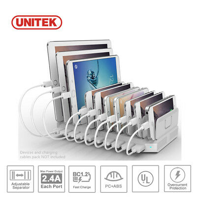 10 Port Charger Charging Station Multi USB Universal Mat Power Pad for Phone/Pad