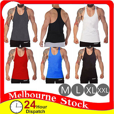Mens Gym Singlet T Back Tank Top Vest Racer Y Back Bodybuilding Cotton Man Men