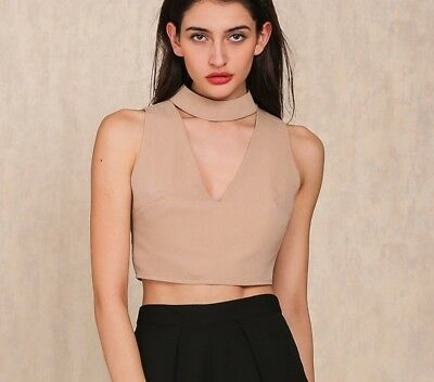 Women High Neck Camisole V Neck Sleeveless Crop Top Beach Short Tops