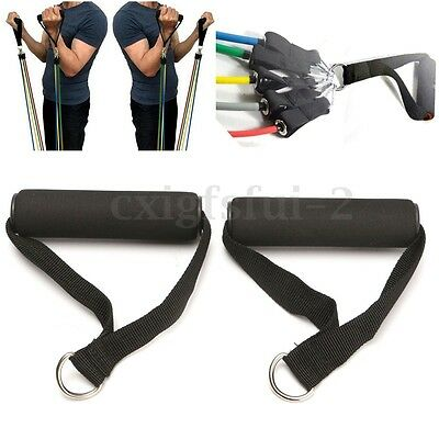 2PCS Stirrup Handle Foam Grip With D Ring Cable Attachment Fitness Training Hot