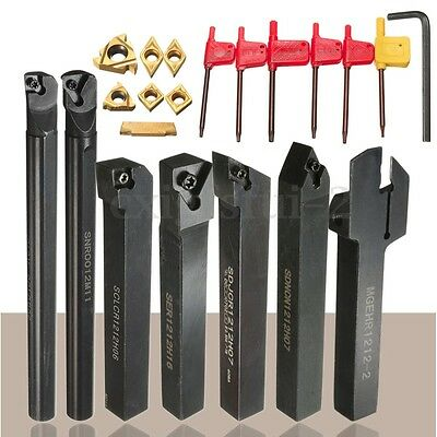 7 Set 12mm Shank Lathe Turning Tool Holder Boring Bar+DCMT CCMT Carbide Insert