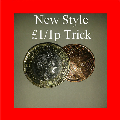 Coin Unique New Style   Magic coin Trick  £1 & 1p  Vanishing 1p  Pound and penny