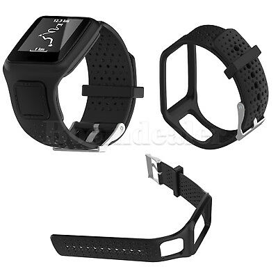 Black Silicone Sports Wrist Band Strap for TomTom 1 Runner & TomTom GPS Watch AU