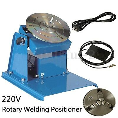 220V BY-10 Rotary Welding Positioner Turntable Table 3 Jaw Lathe Chuck + Pedal