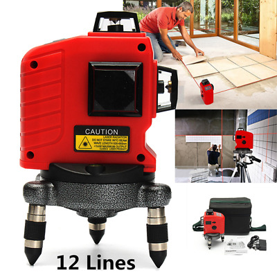 12 Lines 1 Point 360° 3D Laser Level Self Leveling Horizontal Vertical Cross Red