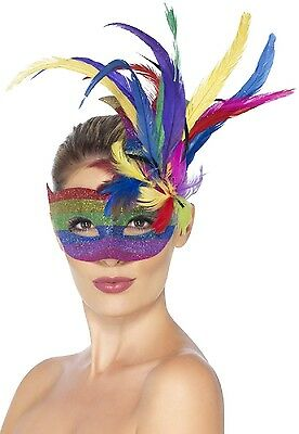 Ladies Rainbow Glitter Masquerade Carnival Feather Eye Mask Fancy Dress Costume