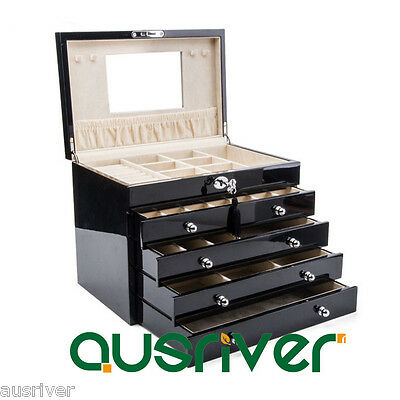 Clearance 5 Layers Piano Finish Wooden Necklace Storage Organiser Jewelry Box