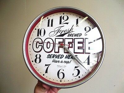Retro Style FRESH COFFEE SERVED HERE WALL CLOCK - Working Order - LOOKS GREAT