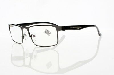 Mens Black Rectangle Frame Metal Reading Glasses Vintage Nerd Geek +1.00 ~ +4.00