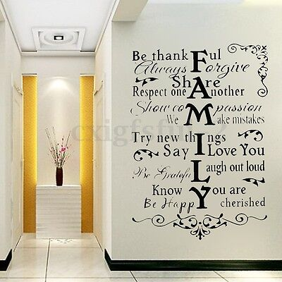 Be Thankful Family Quote Wall Sticker Art Vinyl Decal Home Room Decor Removable