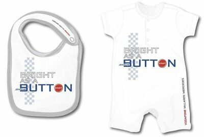 "BABY ROMPER SUIT & BIB V08 Formula One 1 McLaren F1 ""Bright Button"" 6-9 Months"