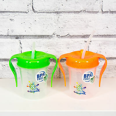 Pack of 2 Smash Sipper Cups with Straws BPA Free Plastic Toddler Water Bottles
