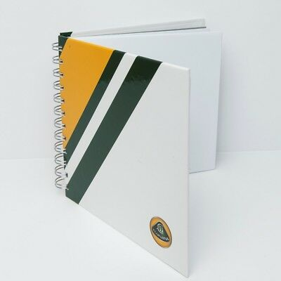 NOTEBOOK White with Green and Yellow Stripe Formula One 1 Team Lotus F1 NEW!