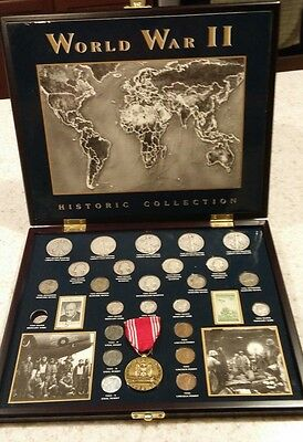 World War Ii Silver Historic Collection 25 Coins & 2- Stamps Plus A Medal