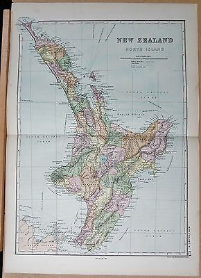 1890 Large Victorian Map -New Zealand North Island