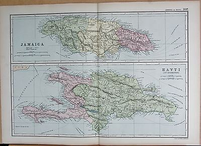 1890 Large Victorian Map - West Indies, Jamaica And Haiti