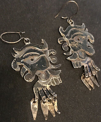 Mexico Taxco Signed ACD Eagle, Pierced Dangle Sterling Silver .925 Earrings