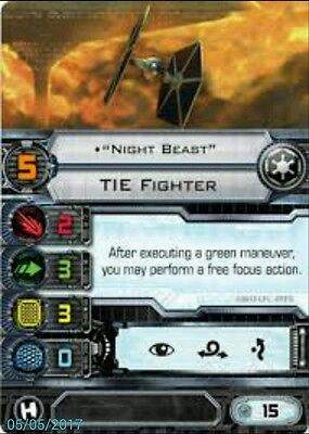 X-wing miniatures game Imperial pilot card - Night Beast