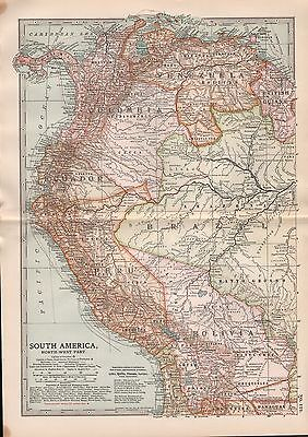 1903 Britannica Antique Map South America North West Colombia Ecuador Peru
