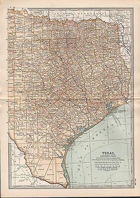 1903 Britannica Antique Map Usa Texas Eastern Part