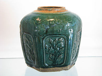 Antique Chinese Early 1800's Green Ginger Jar