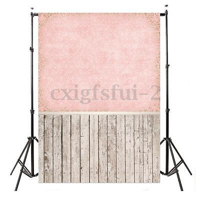 5x7ft Pink Wall Wood Floor Photo Backdrop Photography Background Studio Props
