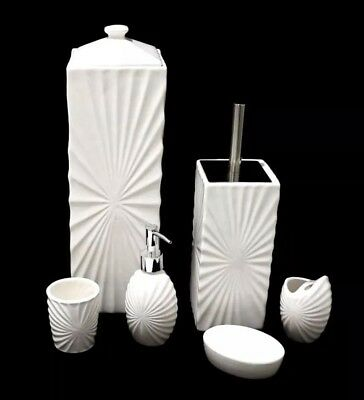 6pcs Ceramic Bathroom Accessories Set Toilet Paper Brush Holder Soap Dispenser