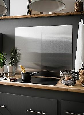 Brushed Stainless Steel Splashback - Kitchen Cooker Wall Protector. 50x90, 50x60