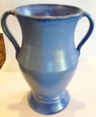 "Fulper Ceramic Pottery 2 Handled Vase in blue. Marked Fulper. Mint. 6 3/4"" tall"