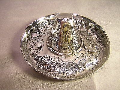 "Mexico Sterling Silver Sombrero 4"" Ash Tray ~ Marked R.J."