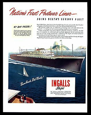 "Original 1946 ""ss Del Norte Luxury Liner"" Ingalls Cruise Ships Art Print Ad"