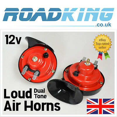 LOUD 12v Dual Tone Air Horn | 12 Volt Snail Siren Airhorn Set for Car Van 4x 12v