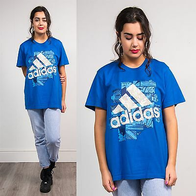 Womens Adidas T-Shirt Top Blue Sports Wavey 3 Three Stripe Logo Casual 12